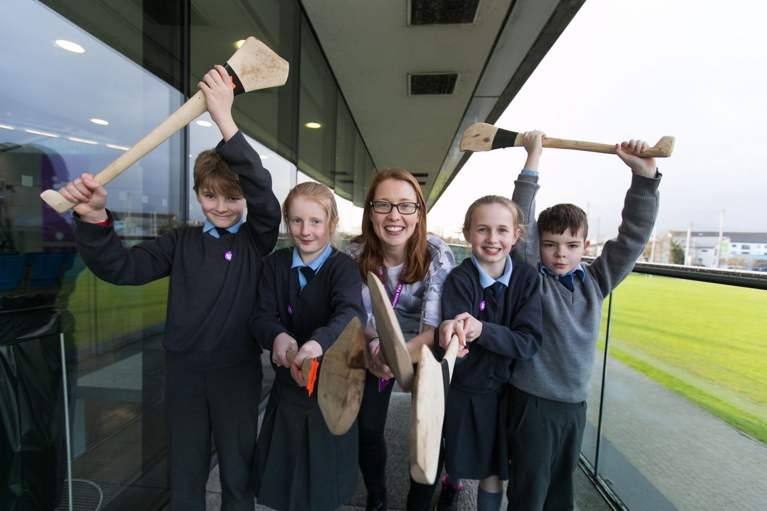 Rena Buckley, All Ireland Cork camogie winner with Adam Gleeson, Aoibhinn O Connor, Caitlynne Ryan McNamara and Fionn Wright from Herberstown NS, Herberstown, Co. Limerick at this years RDS Primary Science Fair Limerick which will see over 3000 primary school students from all over the country exhibit theirSTEM investigations at Mary Immaculate College. Between the three venues of Limerick, Dublin and Belfast there will be over 7000 participants in 2018. Photo: Oisin McHugh True Media
